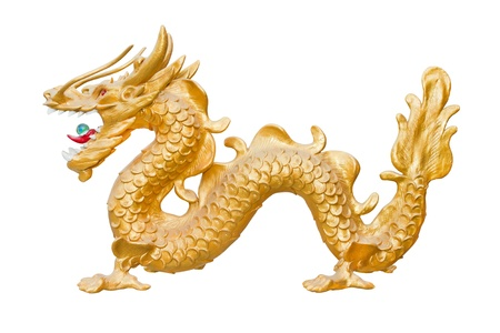 japanese dragon: golden dragon isolated  Stock Photo
