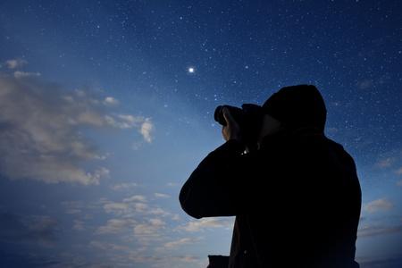 silhouette of photographer shooting night stars Stock Photo - 13011902