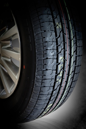 car tire, photo on the black background  photo