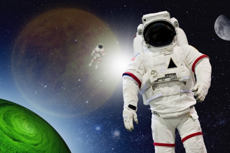 Astronaut Wearing Pressure Suit in a Space Background  photo
