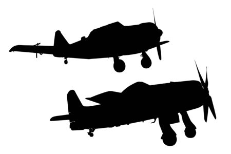 Silhouettes of military airplanes photo