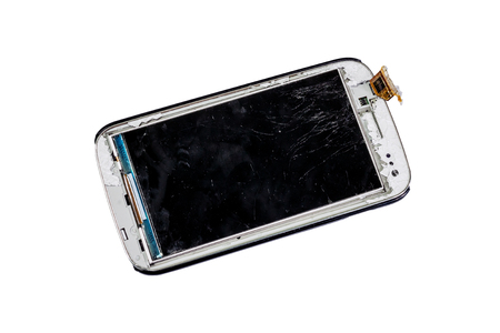 Broken smart phone isolated on white background photo