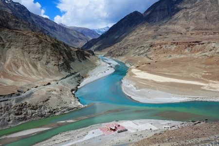 Confluence of Zanskar and Indus rivers, Leh Ladakh, India photo