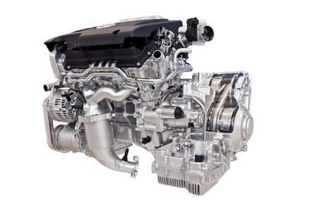 New car engine isolated on white background Фото со стока