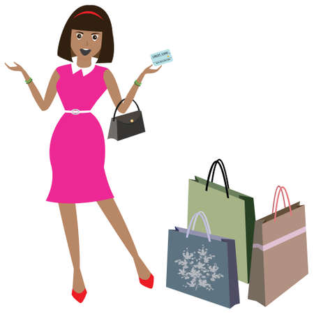 Woman with shopping bags, vector illustration Vector