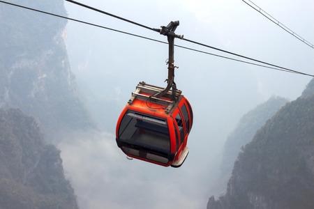 top down car: The cablecar in Tianmen mountain, zhangjiajie, China