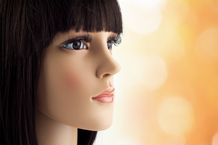 manikin: mannequin head fake with wig Stock Photo