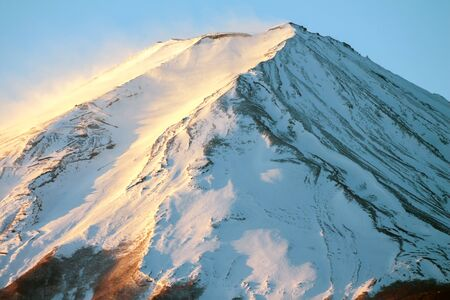 cloud capped: Closeup mount Fuji, Japan