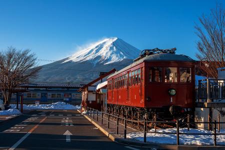 kawaguchi ko: FUJIKAWAGUCHIKO, JAPAN - February 10,2016 : Carnergie model 1897 train displayed in front of Kawaguchiko Station. The station is famous for scenery of Mt. Fuji.