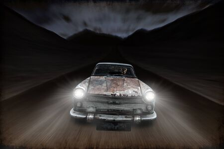 carelessness: speed motion of rusty car drive along the road at night