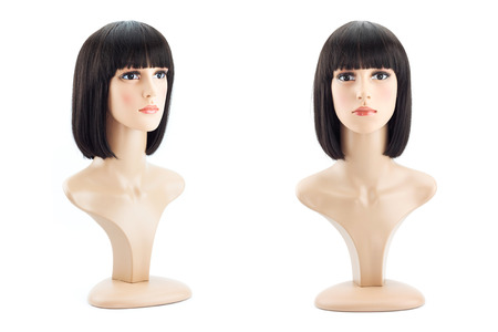 mannequin head: mannequin head fake with bobbed hair wig on white background