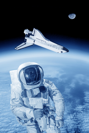 imagine a science: Space shuttle and artronaut in space ( NASA image not used )