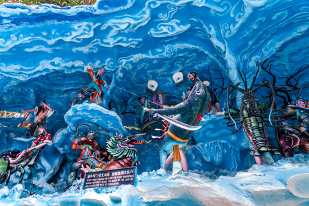 legends folklore: SINGAPORE - AUG. 7 , 2016 : Haw Par Villa or Tiger Balm Garden is a theme park contains over 1,000 statues and 150 giant dioramas depicting scenes from Chinese mythology, folklore, legends, history. Located in  Pasir Panjang Road, Singapore.