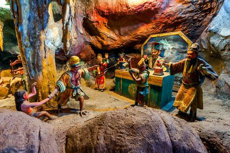 legends folklore: SINGAPORE - AUG.7,2016 : Haw Par Villa or Tiger Balm Garden is a park contains over 1,000 statues and 150 giant dioramas depicting scenes from Chinese mythology, folklore, legends, history, Singapore.