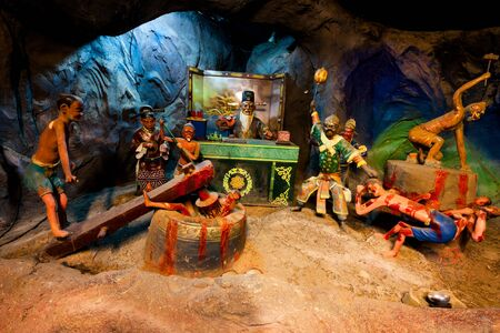 legends: SINGAPORE - AUG.7,2016 : Haw Par Villa or Tiger Balm Garden is a park contains over 1,000 statues and 150 giant dioramas depicting scenes from Chinese mythology, folklore, legends, history, Singapore.