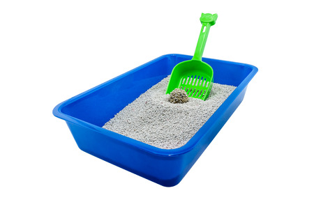 cat litter box ( cat toilet ) isolated on white background