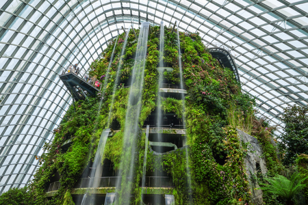 SINGAPORE - AUGUST 8, 2016 : Cloud Forest Dome, Botanic garden showcases plant life from tropical highlands, located in Garden By The Bay, central Singapore.