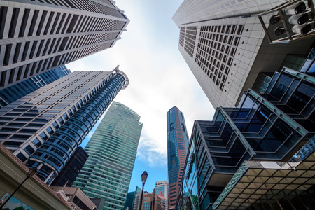 SINGAPORE- AUG. 7, 2016 : Skyscrapers office buildings of modern megalopolis in Singapore downtown.