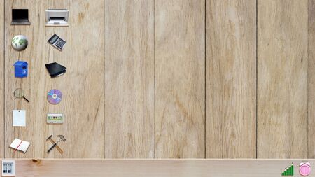desktop wallpaper: office material on wooden plank background like a desktop wallpaper
