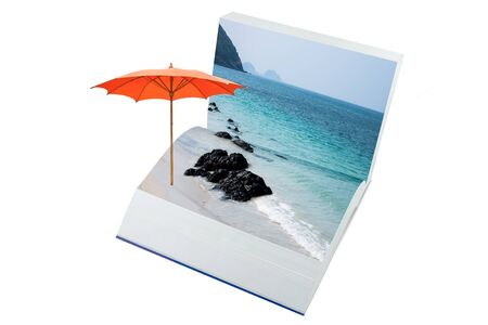 open pop up book with real sea and sand beach theme, 3d style
