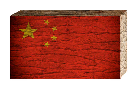 China flag on wooden texture isolated on white background, 3d vintage style Stock Photo
