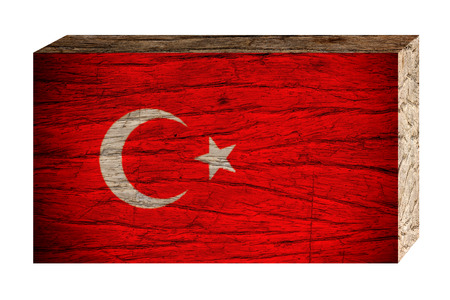 Turkey flag on wooden texture isolated on white background, 3d vintage style