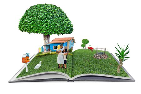 open pop up book familyman and  home in the garden 3d style, home sweet home concept