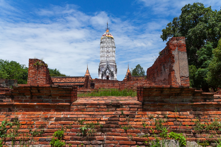 The ancient architecture of Wat Phutthaisawan. One of many temple ruins in the  city of Ayutthaya, Thailand