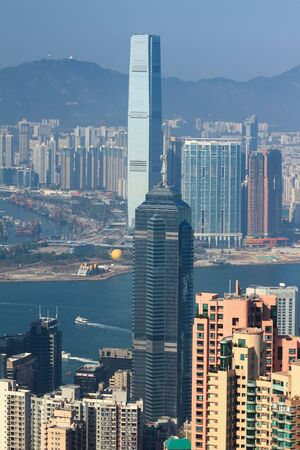 city park skyline: Victoria Harbor of Hong Kong skyline, aerial view from The Peak.
