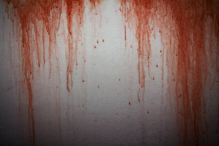 Halloween background. Bloodstain on concrete wall background Stock Photo