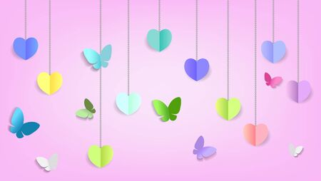 Paper art style, Abstract hearts shape and butterflies background for Valentines Day concept. Vector illustration eps10 Illustration