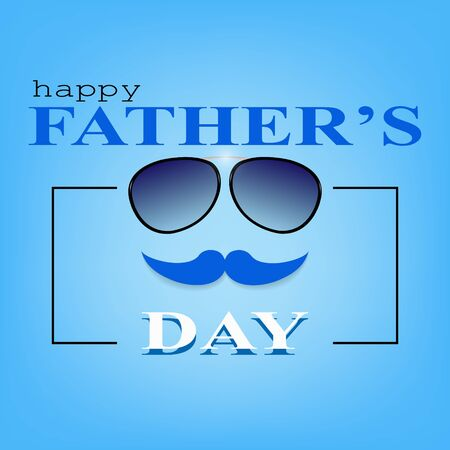 Happy Father's Day greeting card background design with a mustache and glasses,vector illustration eps 10