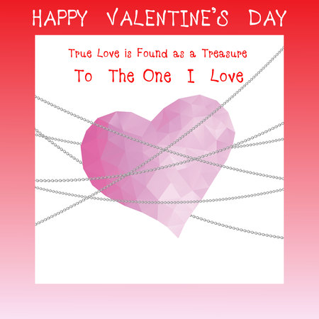 Happy valentines day greeting card design in low poly art heart shape, vector illustration eps10