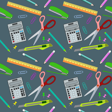 Seamless pattern background, set of office equipment and stationery, vector illustration eps10 Illustration