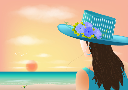 Woman looking at sunset on the beach, vector illustration
