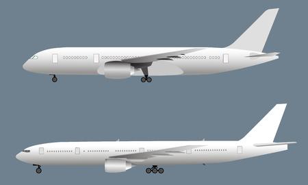 Vista lateral del avión de pasajeros, ilustración vectorial eps10 Ilustración de vector