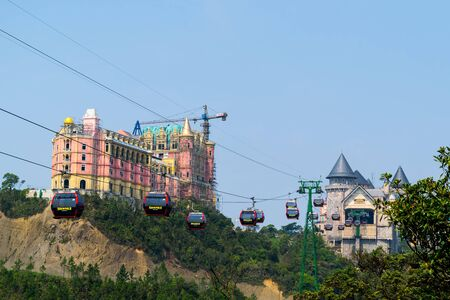 Ba Na Hills mountain resort, Da Nang - March 29, 2019 : The newest castle under construction at French village on the top of Ba Na Hills, the famous tourist destination of Da Nang, Vietnam. Редакционное