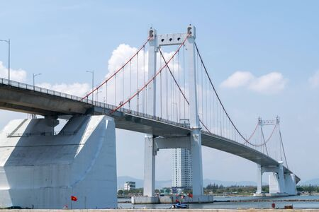 Da Nang, Vietnam - Mar 27, 2019 : The Thuan Phuoc Bridge is the largest suspension bridge in Vietnam, and connects Da Nang's city center with the urban district of Son Tra and a total length of 1,850 m.