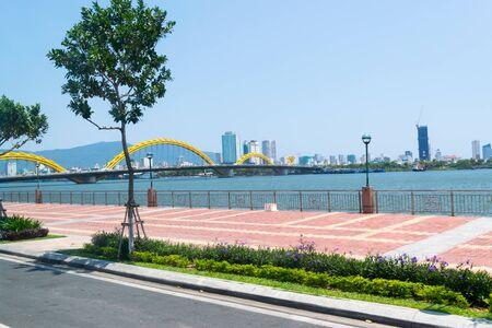 Da Nang City, Vietnam - MAR 27 2019, Dragon bridge ( Cua Rong ), this modern bridge crosses the Han River, designed and built in the shape of a dragon. It is a symbol of Da Nang city, Vietnam.