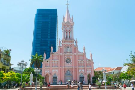Danang, Vietnam - Mar 27, 2019 : Da Nang Cathedral in central Vietnam also known as the Pink church or Rooster church. The church was designed with Gothic styles in the French colonial period in 1923