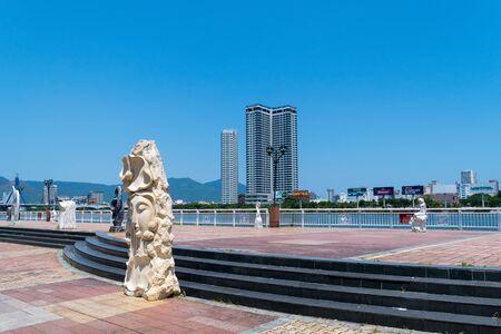 Da Nang City, Vietnam - MAR 27 2019,  Sculptures on walkway beside the Han River in Da Nang city, it is one of Vietnams most important port cities.