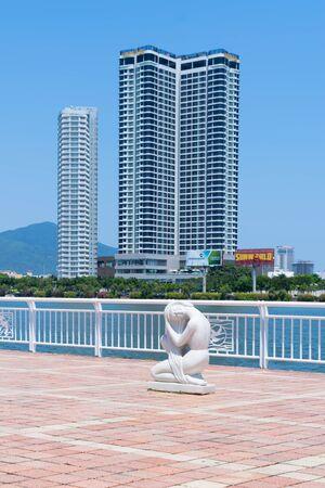Da Nang City, Vietnam - MAR. 27 2019,  Sculptures on walkway beside the Han River in Da Nang city, it is one of Vietnams most important port cities.