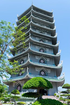 Da Nang, Vietnam - MAR 27 2019, Linh Ung Pagoda built in contemporary style combined with inherent tradition of pagodas in Vietnam, with curved roof in dragon shape, an attractive spiritual tourist destination of Da Nang city.
