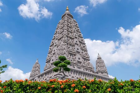 Bodh Gaya, Mahabodhi Temple or Wat Panyanantharam, The famous place for dharma practice is known for its monuments marking important moments in the Buddha's life such as birth and enlightenment in Pathum Thani, Thailand.