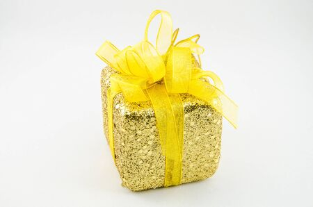 yellow gift box with isolated type Stock Photo - 16872311