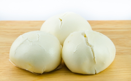 Steamed dumpling with white backgrounds. photo