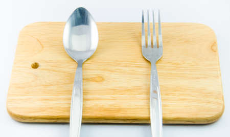 Spoon , fork with white backgrounds photo