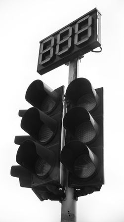 traffic light on black white color. photo
