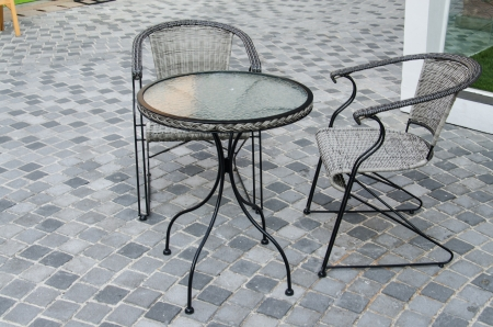 Table and chair in the garden for rest. photo