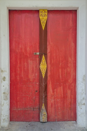 Red door at the temple. Stock Photo - 17173760